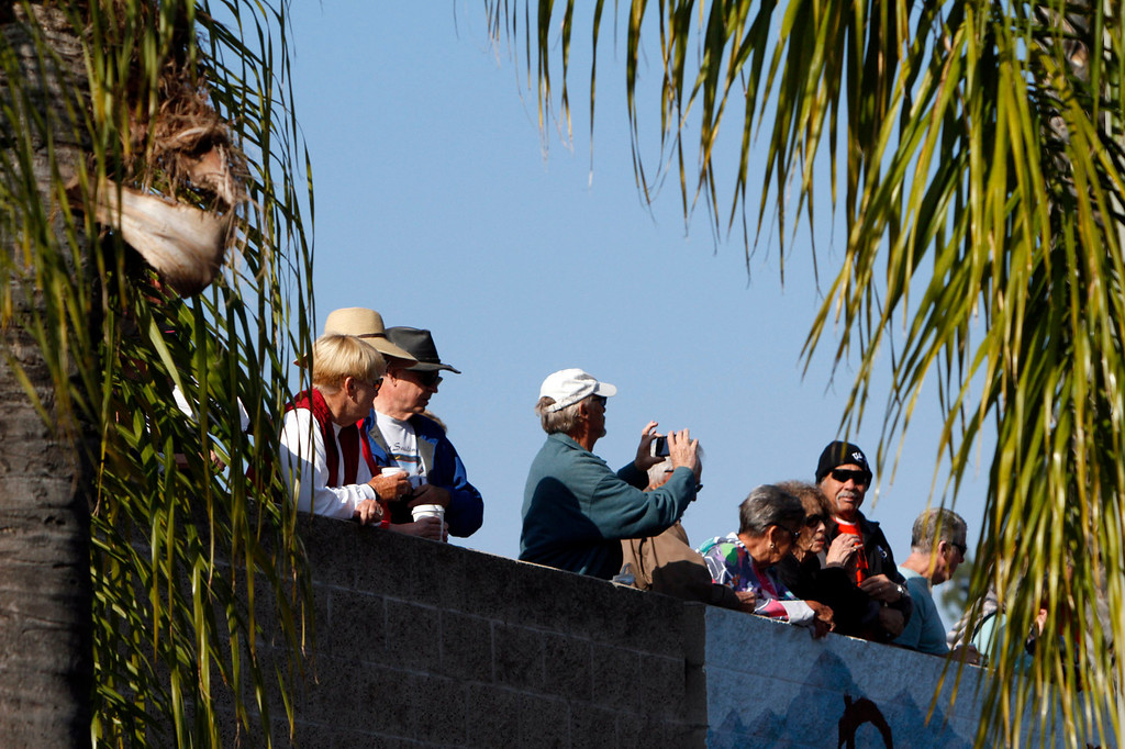 Description of . A crowd watches the public race portion of the Redlands Bicycle Classic on Saturday, April 5, 2014 in Redlands, Ca. (Photo by Micah Escamilla for the Redlands Daily Facts)