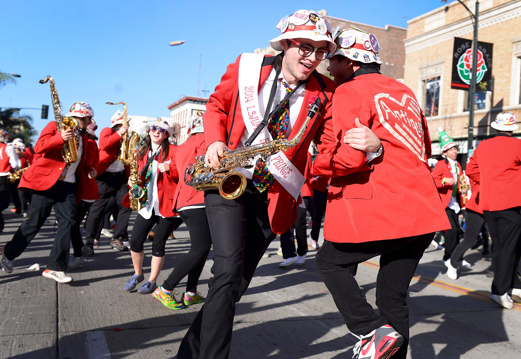 Description of . The Stanford Marching Band heads down Colorado Boulevard during the 125th Rose Parade in Pasadena, CA January 1, 2014. (Photo by Sarah Reingewirtz/Pasadena Star-News)