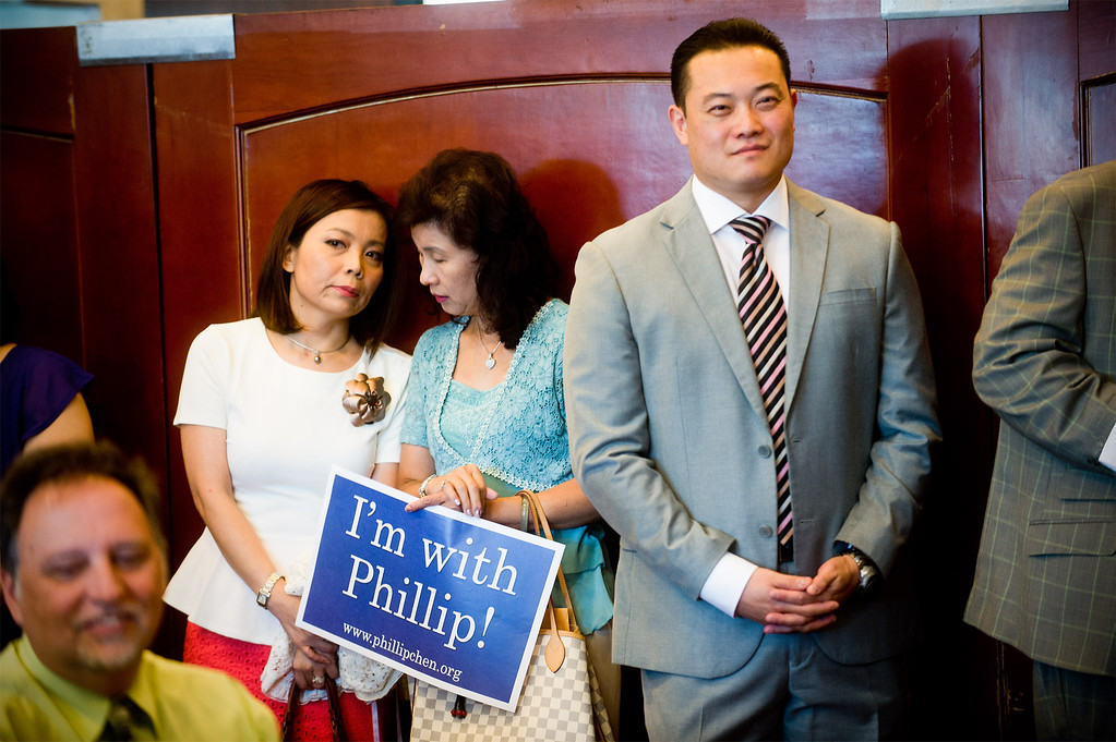 Description of . Phillip Chen during his announcement for his run in the 55th State Assembly District at Seafood Village Restaurant in Rowland Heights on Thursday, July 8, 2013. The Walnut Valley school board member is running in the 55th Assembly district currently represented by Assemblyman Curt Hagman, who is not running for reelection due to term limits. (SGVN/Staff photo by Watchara Phomicinda)