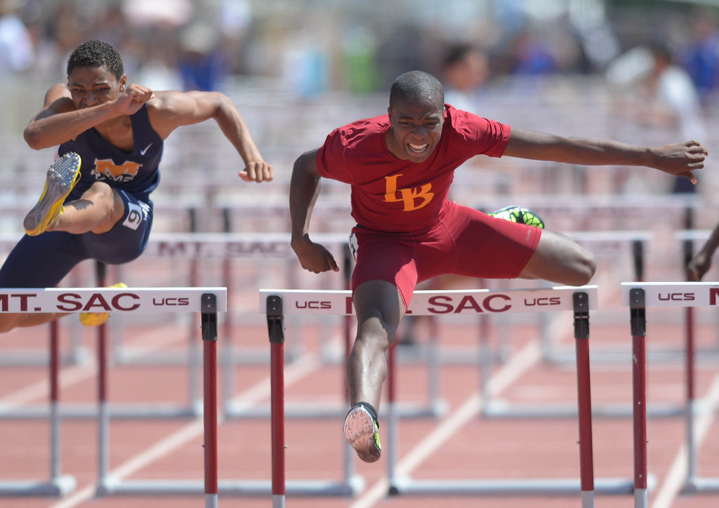 Description of . LB Wilson's Bayron Manuel wins the 110 meter Division 1 high hurdles race of the CIF Southern Section Track and Field Championships Saturday at Mt. SAC. He would later win the 300 hurdles race as well. 20130518 Photo by Steve McCrank / Staff Photographer