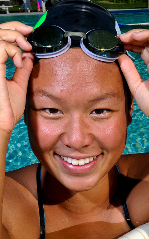 Description of . Sonia Wang has been named to The Sun's All-Area Swim Team. Wang is a sophomore at Upland High School. Rachel Luna staff photographer The Sun.