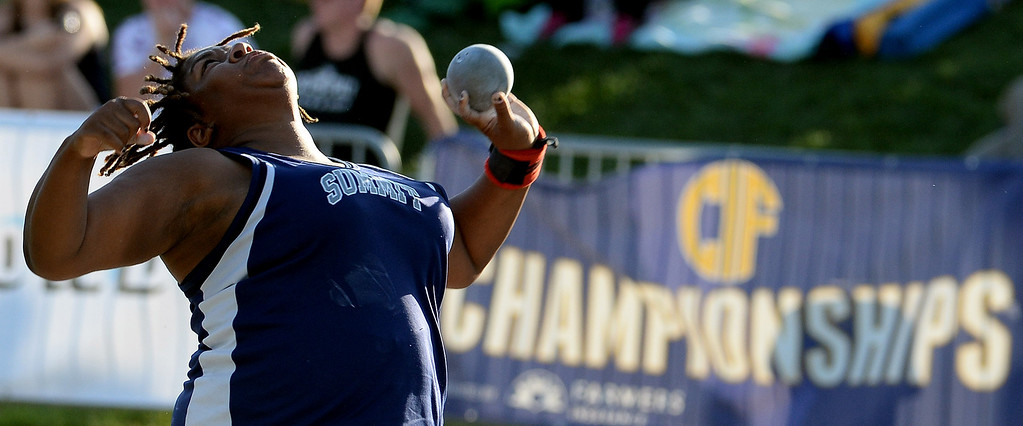 Description of . Summit's Destiny Parker competes in the shot put during the CIF California State Track & Field Championships at Veteran's Memorial Stadium on the campus of Buchanan High School in Clovis, Calif., on Saturday, June 7, 2014.   (Keith Birmingham/Pasadena Star-News)