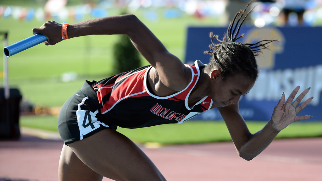 Description of . Harvard Westlakes Courtney Corrin competes in the 4x100 relay during the CIF California State Track & Field Championships at Veteran's Memorial Stadium on the campus of Buchanan High School in Clovis, Calif., on Saturday, June 7, 2014.   (Keith Birmingham/Pasadena Star-News)