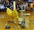 Team: Spongebot MetalPants sweeps sponges off a podium into their robot basket for big time score during competition at 28th Annual ME72 Engineering Design Contest, 