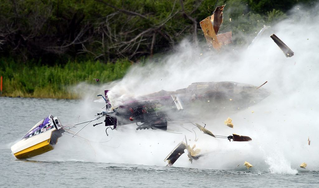 Description of . Dan Rogers capsule is ejected from his crashing Top Alcohol flat bottom drag boat during eliminations Sunday May 5, 2013 at the Irvine Lake California Classic. Rogers was reported to have suffered a broken ankle, but that could not be confirmed. (Staff photo by Will Lester)