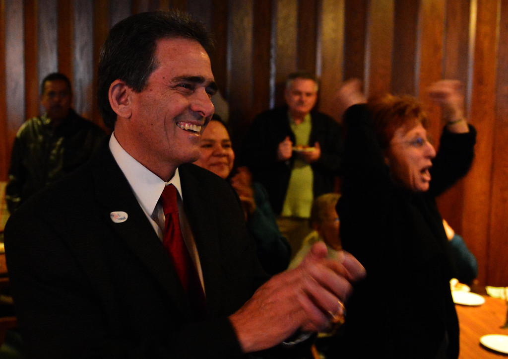 Description of . San Bernardino Mayor-elect Carey Davis is all smiles after learning he received 56 percent of the votes in the mayor's race on Tuesday. LaFonzo Carter/The Sun