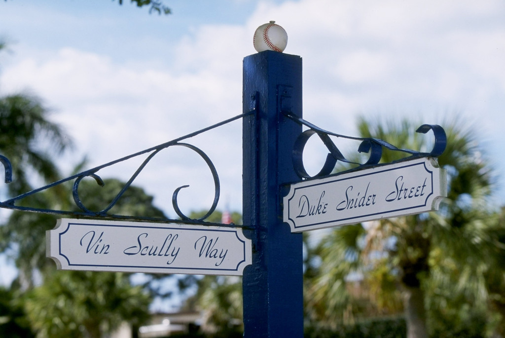 Description of . 6 Mar 1998: A general view of a street sign honoring Vin Scully and Duke Snider during a spring training game between the Los Angeles Dodgers and the Baltimore Orioles at Holman Stadium in Vero Beach, Florida. The Dodgers defeated the Orioles 18-2