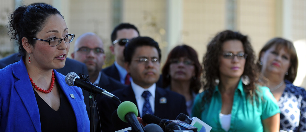 Description of . Assembly member Cristina Garcia (D-Bell Gardens) speaks during a press conference with concerned regional elected officials calling for Senator Ron Calderon to resign his position in the California State Senate in front of the Bell Gardens City Hall in Bell Gardens , Calif., on Wednesday, Nov. 13, 2013.   (Keith Birmingham Pasadena Star-News)
