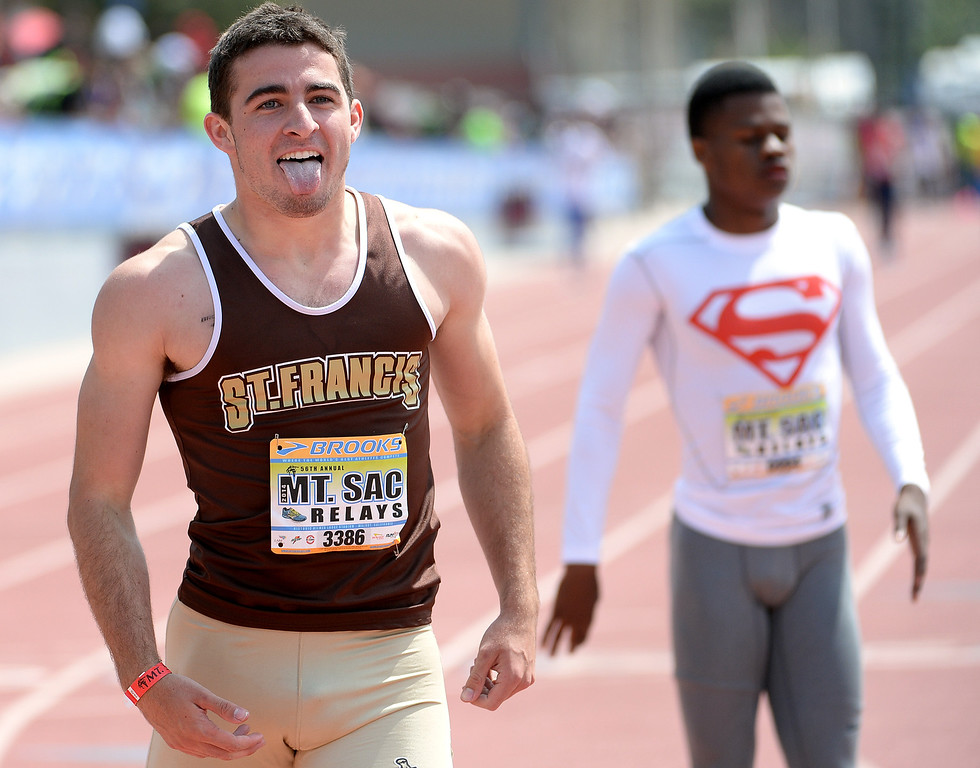 Description of . St. Francis' Ross Niederhaus reacts after winning the 400 meter Dash seeded during the Mt. SAC Relays in Hilmer Lodge Stadium on the campus of Mt. San Antonio College in Walnut, Calif., on Saturday, April 19, 2014. 