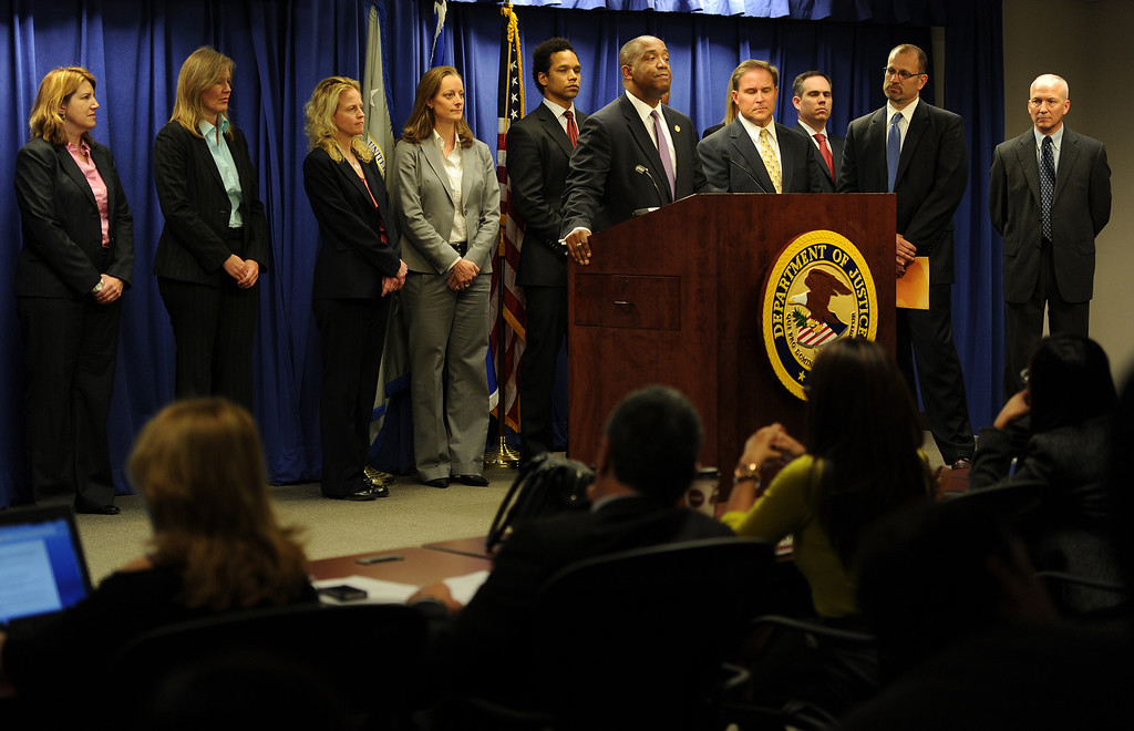 Description of . Federal officials announce charges in Los Angeles on Friday, Feb. 21, 2014, against State Sen. Ron Calderon and his brother Tom that include mail fraud, money laundering, tax evasion, and fraud related to health care. (Photo by John McCoy/Los Angeles Daily News)