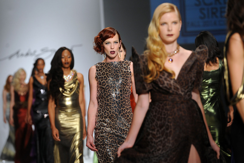 Description of . Models walk the runway at the Andre Soriano fashion show during L.A. Fashion Week March 10, 2014 in Los Angeles, CA.(Andy Holzman/Los Angeles Daily News)