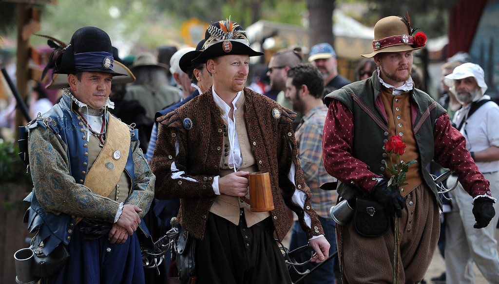 Description of . Hundreds enjoy opening day of the Renaissance Pleasure Faire at Santa Fe Dam Recreation Area in Irwindale, Calif., on Saturday, April 5, 2014. 