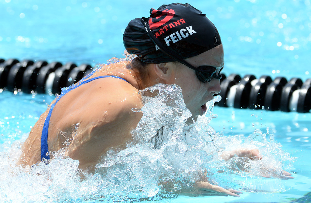Description of . Glendora's Amelia Feick competes in the 100 yard breaststroke during the Division 2 CIF Southern Section Swimming Championships in the Riverside Aquatics Complex at Riverside City College in Riverside, Calif., on Saturday, May 17, 2014.  (Keith Birmingham/Pasadena Star-News)