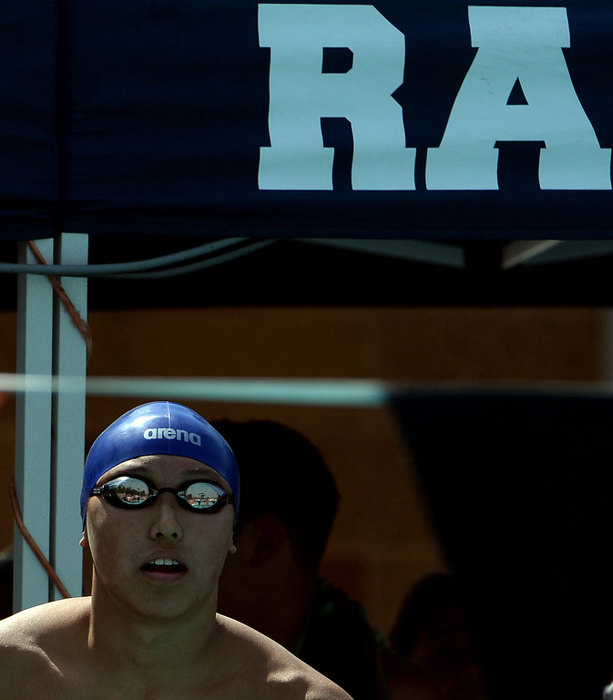Description of . Rowland's Michael Wang prepares for the 200 yard freestyle during the Division 2 CIF Southern Section Swimming Championships in the Riverside Aquatics Complex at Riverside City College in Riverside, Calif., on Saturday, May 17, 2014.