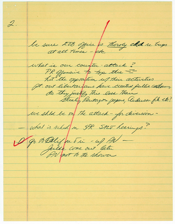 Description of . This image provided by the National Archives and Records Administration shows one of two pages of notes taken by White House chief of staff H.R. Haldeman during a June 20, 1972, meeting with President Richard M. Nixon. The notes reflect the president's fear that the office in the Executive Office Building might be bugged and proposes hitting back against critics early in the Watergate scandal.