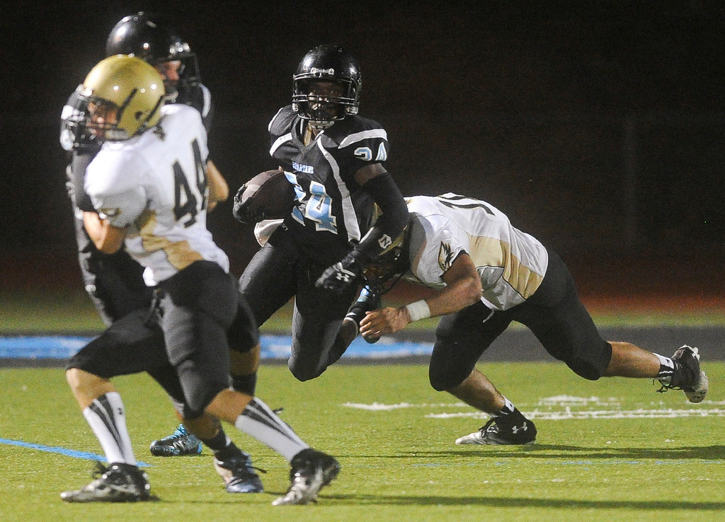 Description of . San Gorgonio faces Citrus Valley High School in their season opener in San Bernardino on Friday, Aug. 30, 2013. (Rachel Luna / Staff Photographer)