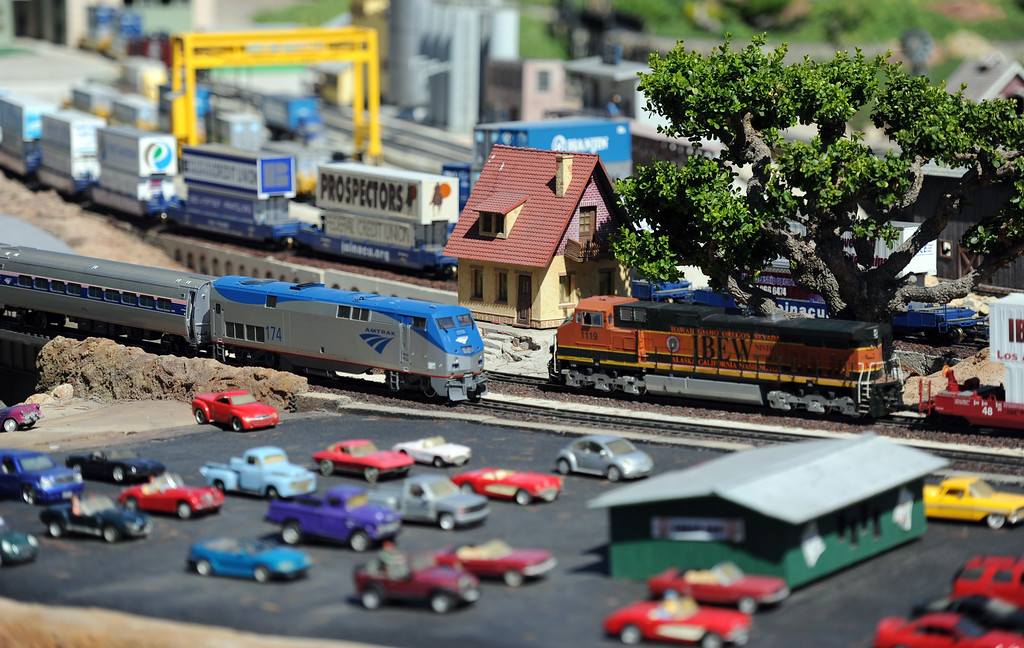 Description of . The garden railroad during the 91st Annual L.A. County Fair in Pomona, Calif. on Thursday, Sept. 5, 2013.   (Photo by Keith Birmingham/Pasadena Star-News)