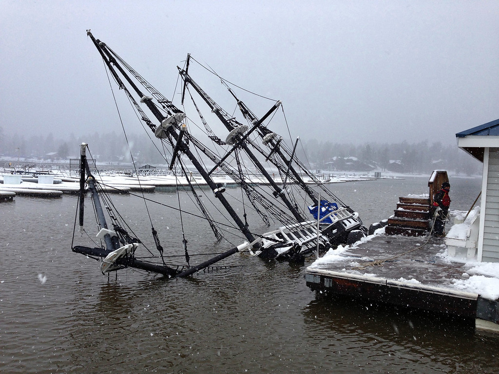 Description of . The Big Bear Pirate Ship, a 1/3 scale replica of a 16th Century Spanish Galleon sunk in Big Bear Lake, apparently due to weather, sometime between Friday evening and Saturday morning at Holloway's Marina.(Courtesy photo)