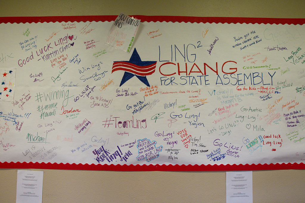 Description of . A Ling-Ling Chang for state assembly sign hangs at her campaign headquarters in Brea, Tuesday, June 3, 2014. (Photo by Robert Huskey)