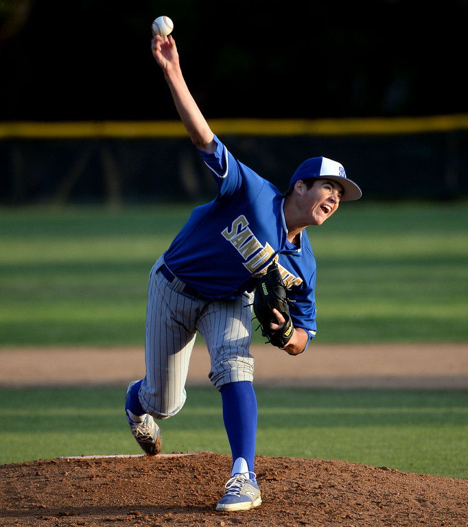 Description of . San Dimas starting pitcher Peter Lambert (C) throws to the plate against Bonita in the first inning of a prep baseball game at Bonita High School in La Verne, Calif., on Wednesday, March 19, 2014.  (Keith Birmingham Pasadena Star-News)