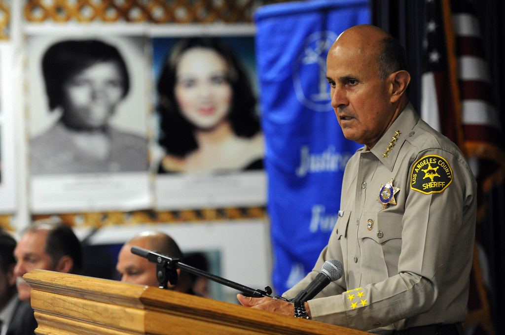 Description of . Los Angeles County Sheriff Lee Baca speaks during a Los Angeles County Sheriff's Department and Justice for Murdered Children unsolved homicide summit at the Los Angeles County Sheriff's headquarters on Saturday, July 20, 2013 in Monterey Park, Calif.  (Keith Birmingham/Pasadena Star-News)