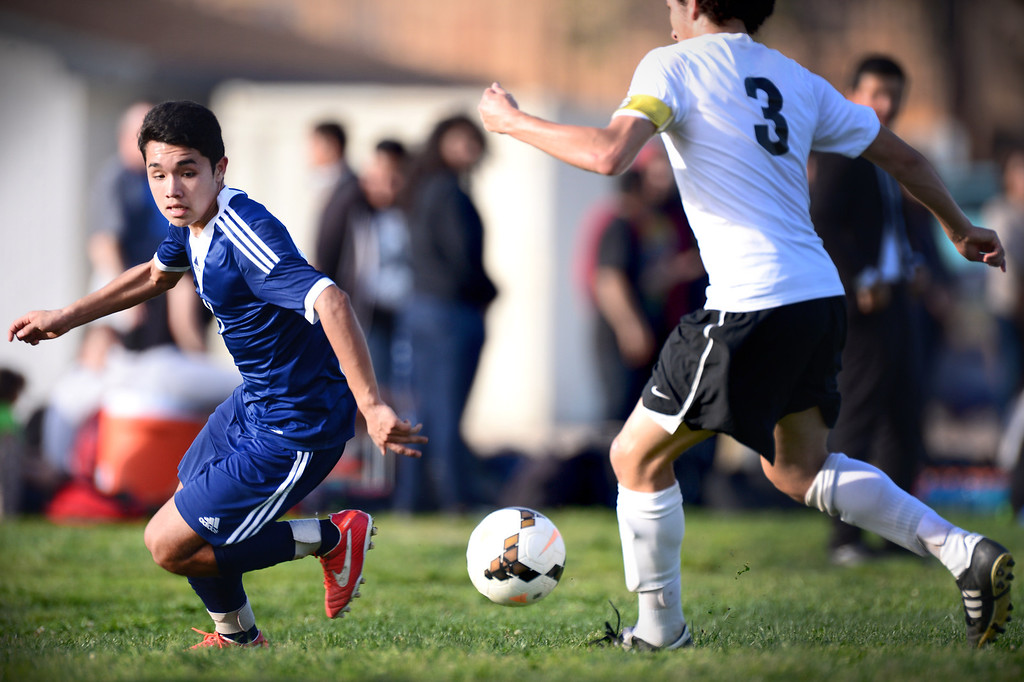 Description of . Baldwin Park defeats Northview 2-0 during Tuesday's game at Northview High School, February 11, 2014. (Photo by Sarah Reingewirtz/Pasadena Star-News)