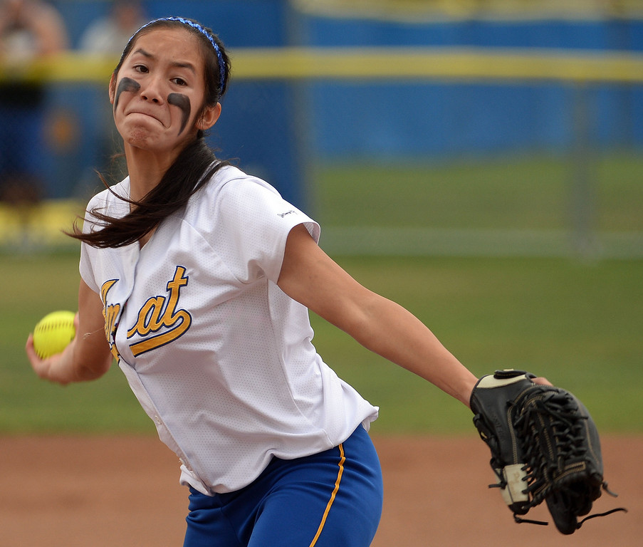 Description of . Bishop Amat starting pitcher Francesca Garcia throws to the plate against La Serna in the first inning of a prep playoff softball game at Bishop Amat High School in La Puente, Calif., on Thursday, May 22, 2014. La Serna won 6-0.   (Keith Birmingham/Pasadena Star-News)