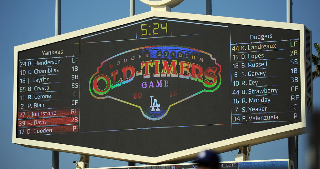 Description of . during the Old-Timers game prior to a baseball game between the Atlanta Braves and the Los Angeles Dodgers on Saturday, June 8, 2013 in Los Angeles. 
