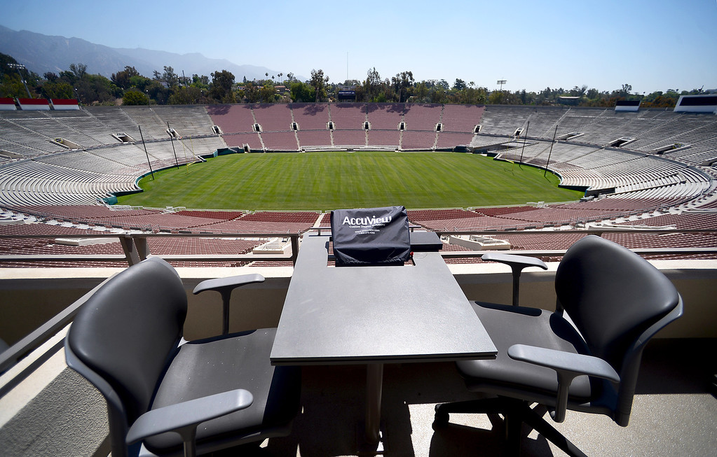 Description of . Premium seating in the newly restored Rose Bowl press box is seen Thursday, June 20, 2013 in advance of the historic stadium's first public tours, which begin Saturday. (SGVN/Staff Photo by Sarah Reingewirtz)
