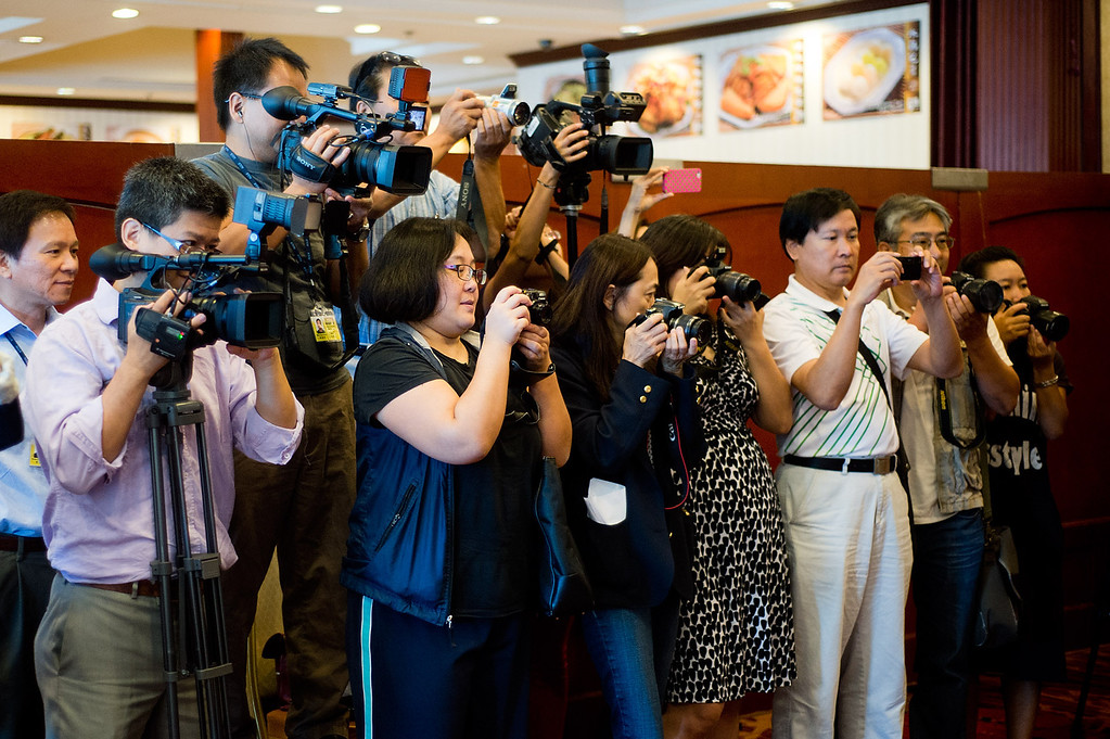 Description of . Members of the media during Phillip Chen's announcement for his run in the 55th State Assembly District at Seafood Village Restaurant in Rowland Heights on Thursday, July 8, 2013. The Walnut Valley school board member is running in the 55th Assembly district currently represented by Assemblyman Curt Hagman, who is not running for reelection due to term limits. (SGVN/Staff photo by Watchara Phomicinda)