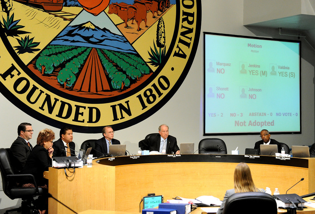Description of . (John Valenzuela/ Staff Photographer) San Bernardino City Council voted not adopt a motion to seek information about outsourcing fire services in San Bernardino to save money once again has failed to pass.