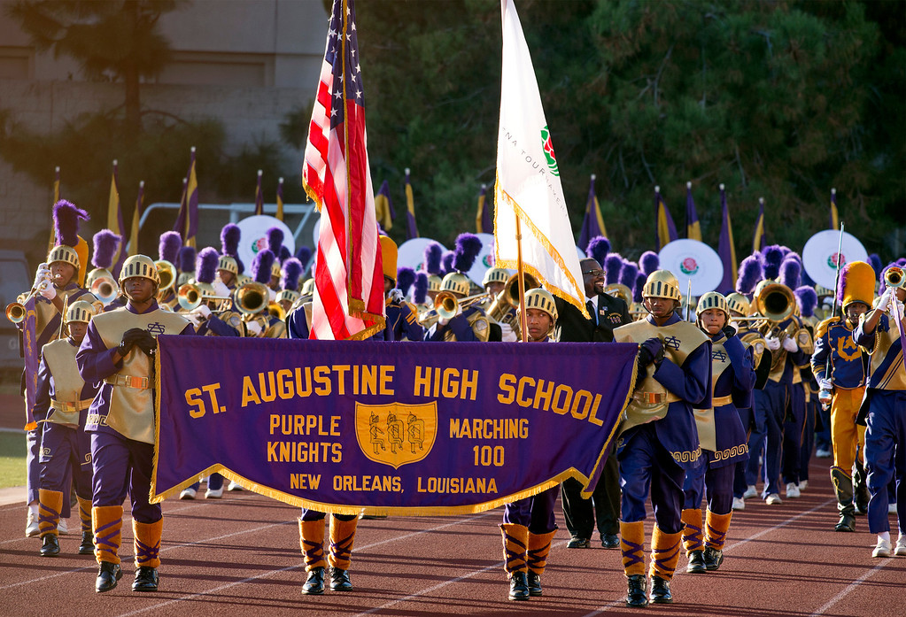 Description of . St. Augustine High School Marching 100 of New Orleans, La. performs during the Pasadena Tournament of Roses Bandfest I at Pasadena City College Dec. 29, 2013.   (Staff photo by Leo Jarzomb/Pasadena Star-News)