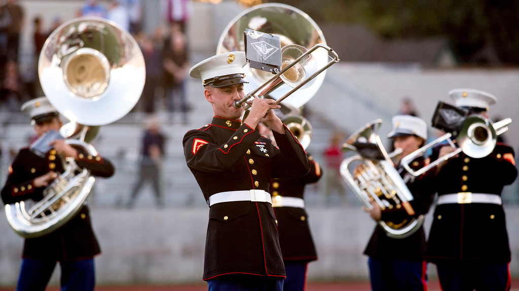 Description of . The United States Marine Corps West Coast Composite Band performs during the Pasadena Tournament of Roses Bandfest I at Pasadena City College Dec. 29, 2013.   (Staff photo by Leo Jarzomb/Pasadena Star-News)