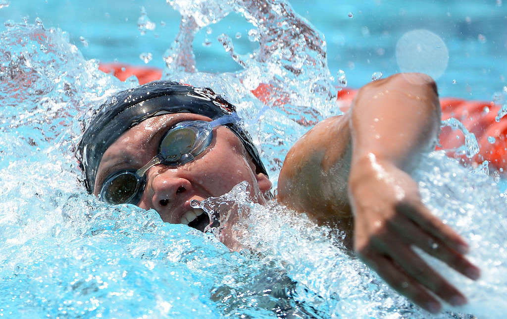 Description of . Glendora's Catherine Sanchez competes in the 100 yard freestyle yard race during the Division 2 CIF Southern Section Swimming Championships in the Riverside Aquatics Complex at Riverside City College in Riverside, Calif., on Saturday, May 17, 2014.