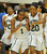 02-23-2012--(LANG Staff Photo by Sean Hiller)- Narbonne's  Kayla Brady (1), left, and Jade Everage (20) celebrate after defeating El Camino Real 47-39 in Saturday's L.A. City Section Division I semifinal girls basketball game.