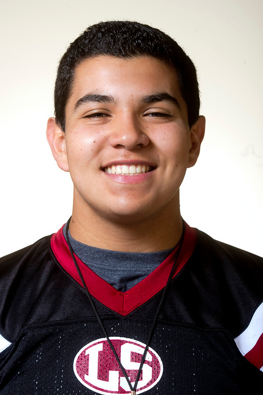 Description of . Whittier Daily News All-area Enrique Huerta of La Serna High School football in Whittier on Thursday, Jan. 2, 2014. (Watchara Phomicinda/ Whittier Daily News)