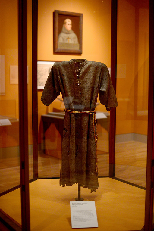 Description of . Tunic of Fray Antonio Margil de Jesus, 18th century, on display in the Junipero Serra exhibition at The Huntington Library in San Marino Saturday night, November 16, 2013. (Photo by Sarah Reingewirtz/Pasadena Star-News)