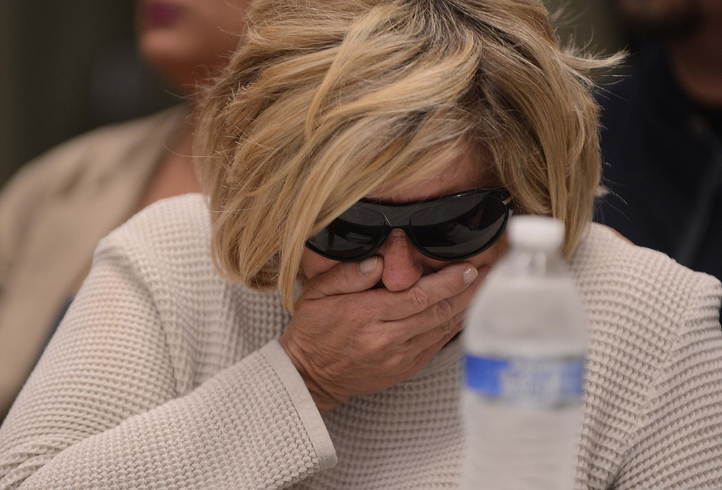 Description of . Susan Blanke, the mother of Joseph McStay, breaks down in tears during a news conference about her son and his family's death on Friday at the San Bernardino County Sheriff's Department headquarters in San Bernardino. Blanke's son and his family's bodies were found in a shallow grave on Monday, Nov. 11, 2013 near  Victorville. (LaFonzo Carter/The Sun)