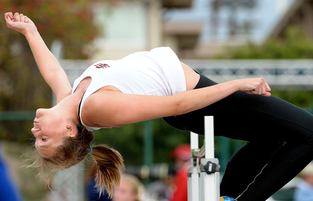 Description of . Glendora's Sidney Pink competes in the division 2 high jump during the CIF Southern Section track and final Championships at Cerritos College in Norwalk, Calif., Saturday, May 24, 2014. 