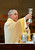 Archbishop Jose H. Gomez lifts the chalice during mass at Cathedral of Our Lady of the Angels, Wednesday, March 13, 2013. (Michael Owen Baker/Staff Photographer)