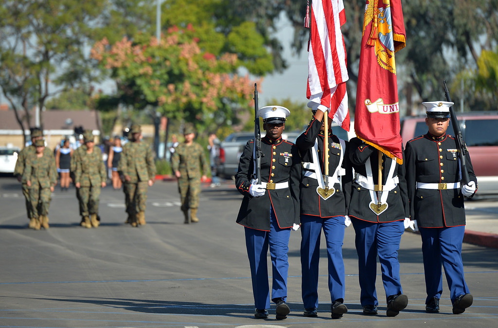 Description of . City of Carson Veterans Day Celebration at Veterans Park Monday November 11, 2013 Carson High JROTC arrives with Colors.    Photo by: Robert Casillas / Daily Breeze