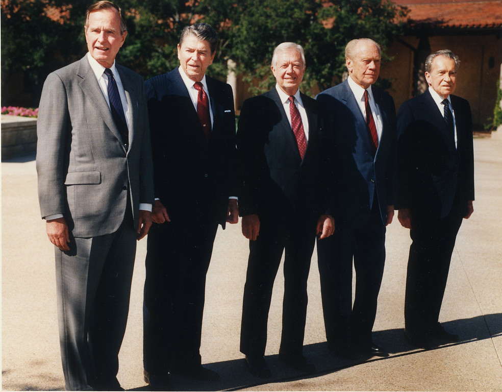 Description of . For the first time in history, five US presidents gathered in one place. George HW Bush, Ronald Reagan, Jimmy Carter, Gerald Ford and Richard Nixon appear in the courtyard of the Ronald Reagan Presidential Library in Simi Valley Calif., November 04 1991. (Los Angeles Daily News file photo)