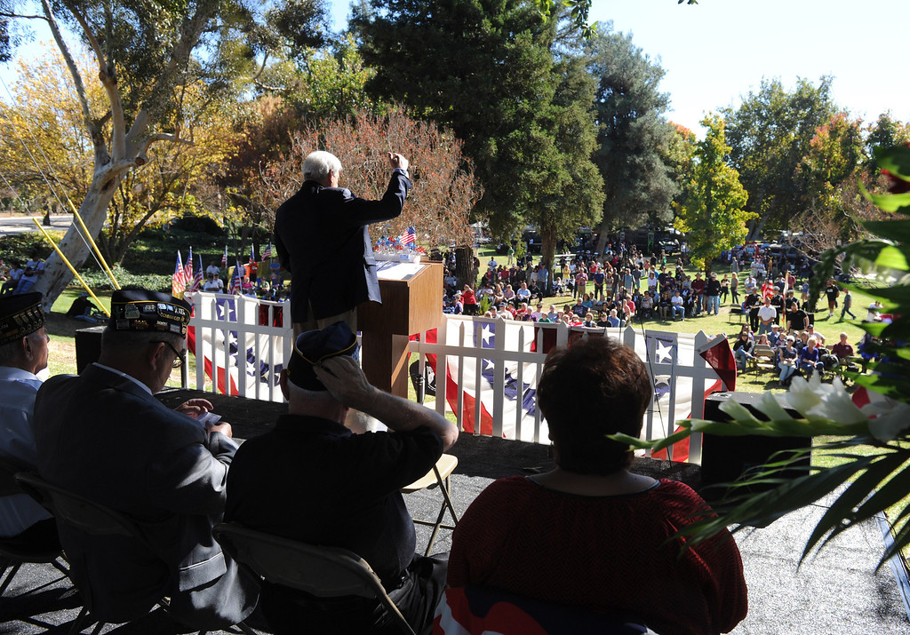 Description of . The City of Redlands and American Legion Posts 106 & 650 hosted a Veterans Day Parade along with a ceremony honoring all who served with a special Tribute to Korean War Veterans, at Jennie Davis Park in Redlands, CA., Monday, Nov. 11, 2013. (John Valenzuela/Staff Photographer)