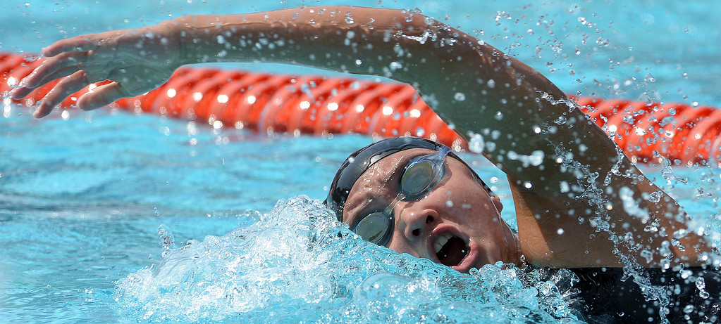 Description of . Glendora's Catherine Sanchez competes in the 200 freestyle yard race during the Division 2 CIF Southern Section Swimming Championships in the Riverside Aquatics Complex at Riverside City College in Riverside, Calif., on Saturday, May 17, 2014.