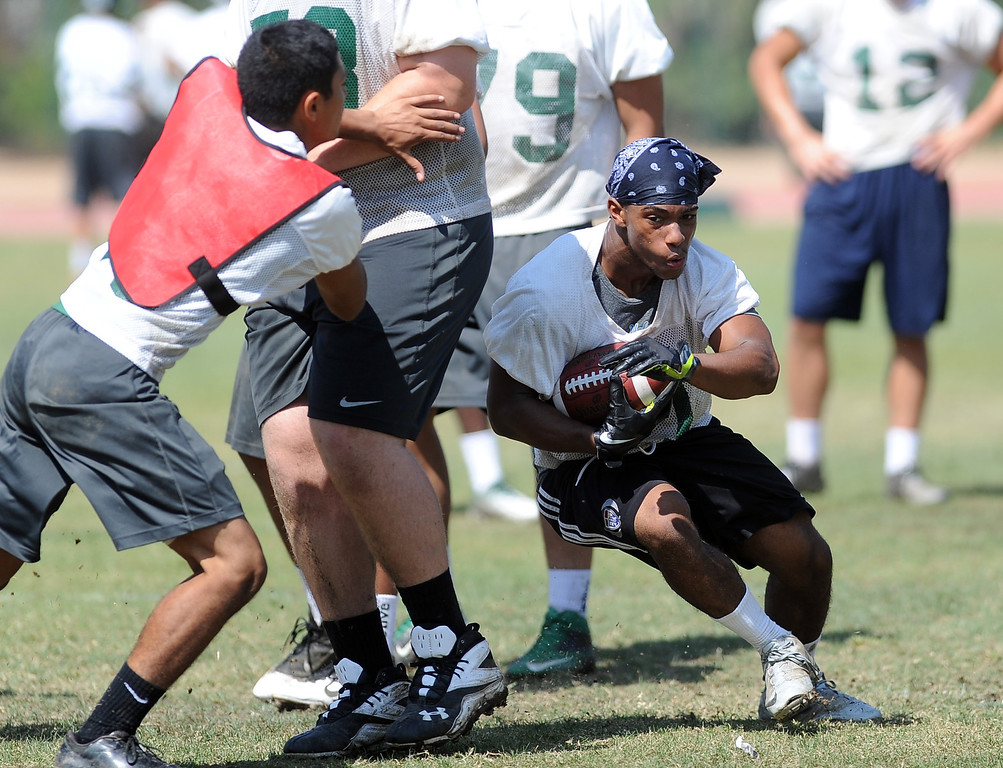 Description of . RB Lawon Carney during morning practice at South Hills High School on Friday, Aug. 9, 2013 in West Covina, Calif.   (Keith Birmingham/Pasadena Star-News)