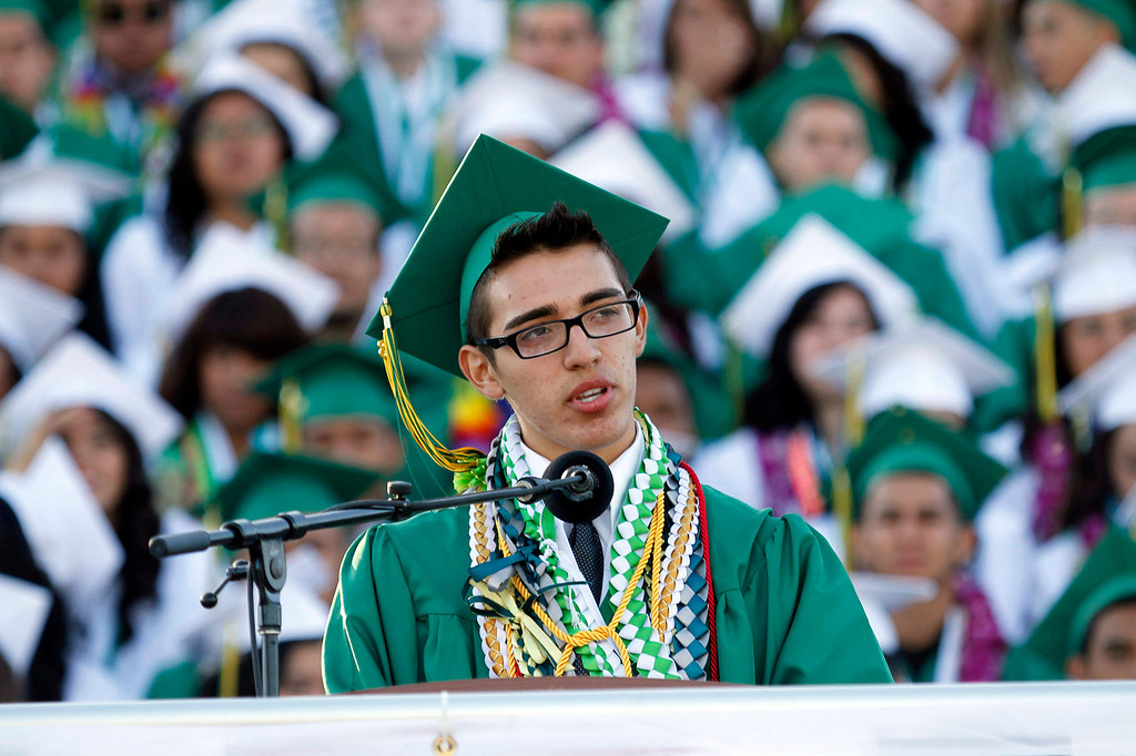 Description of . Schurr Class President Jerry Anthony Fuentes, during Schurr High School 2013 Commencement Exercises, at Ken Davis Field, at Schurr High School in Montebello, Thursday, June 20, 2013. (Correspondent Photo by James Carbone/SWCITY)