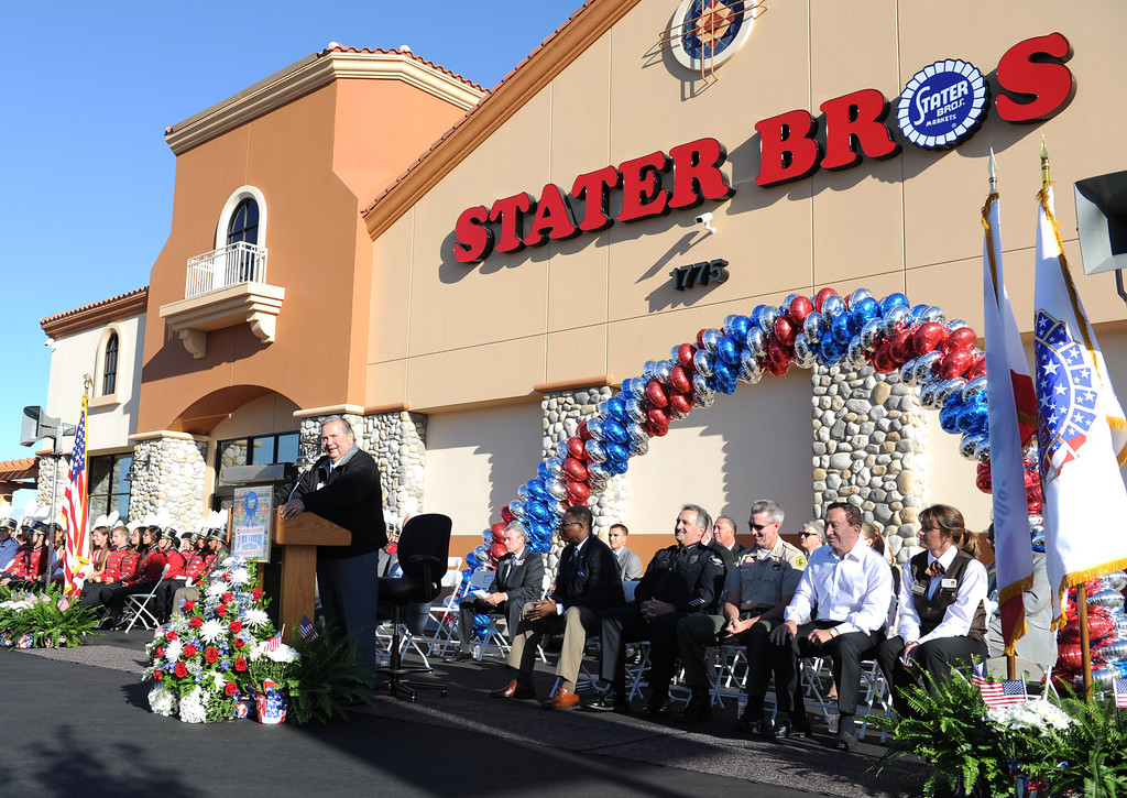 Description of . (John Valenzuela/Staff Photographer) Stater Bros. C.E.O Jack Brown speaks during the grand opening of his newest grocery store in Redlands, Wednesday, September 25, 2013. The new store replaces the one directly across the street, offering more amenities and services, including a bakery, seafood counter and wider aisles.