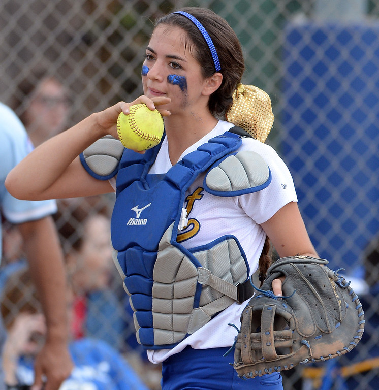 Description of . Bishop Amat catcher Julia Valenzuela in the second inning of a prep playoff softball game against La Serna at Bishop Amat High School in La Puente, Calif., on Thursday, May 22, 2014. La Serna won 6-0.   (Keith Birmingham/Pasadena Star-News)