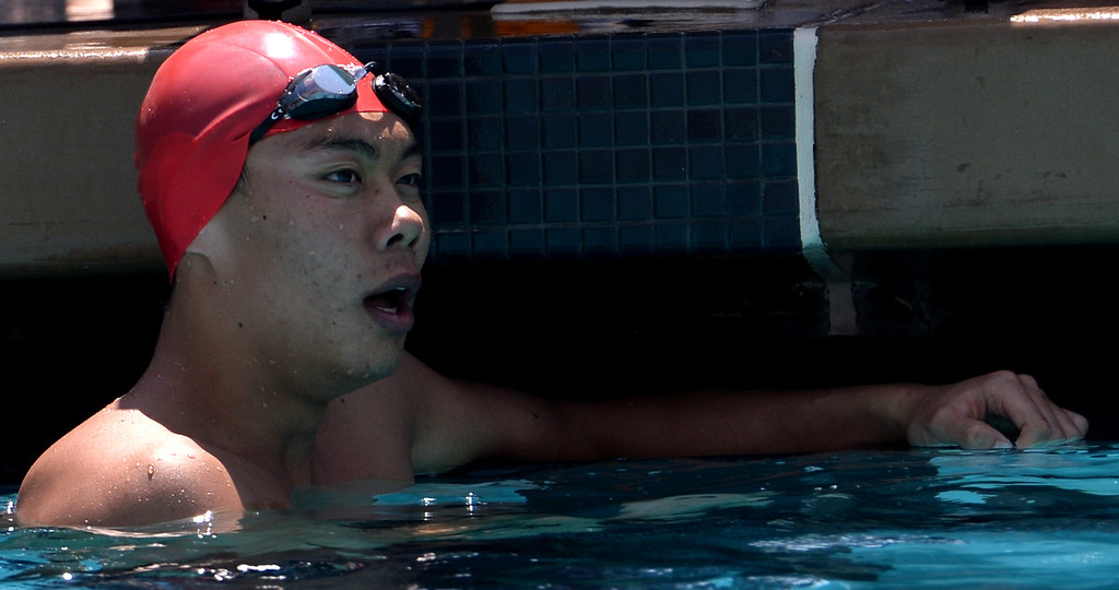 Description of . Mark Keppel's Justin Chiu after the 100 yard butterfly during the Division 2 CIF Southern Section Swimming Championships in the Riverside Aquatics Complex at Riverside City College in Riverside, Calif., on Saturday, May 17, 2014.