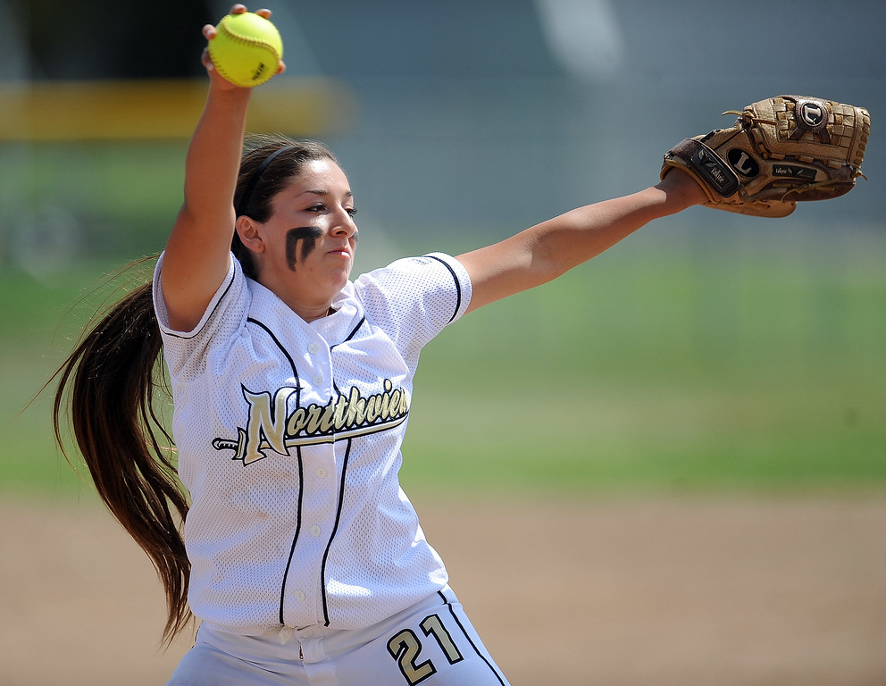 Description of . Northview's Ana Mejia (C) throws to the plate in the first inning of a CIF-SS quarterfinal playoff softball game against Barstow at Northview High School on Thursday, May 23, 2013 in Covina, Calif. Northview won 5-4.  (Keith Birmingham Pasadena Star-News)